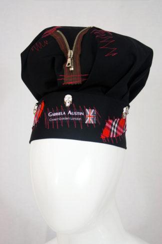 punk hat - black with red tartan