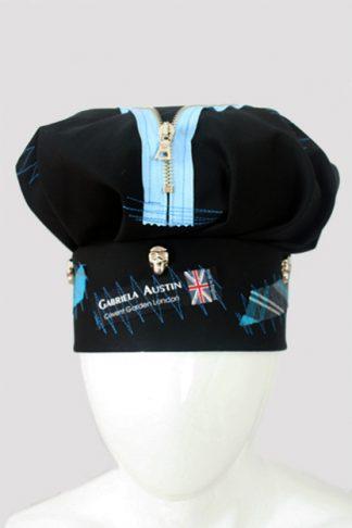 punk hat - black with blue tartan